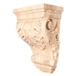 Wide Acanthus Wood Corbel