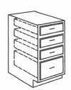 "TVDB21 Four Drawer Tall Vanity Base Cabinet 21"" Wide x 21"" Deep x 34.5"" Tall"