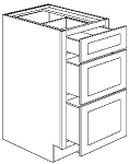 3DB15 - Pre-Assembled Brandywine Shaker Three Drawer Base Cabinet 15