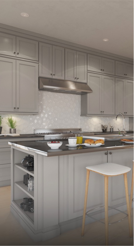 Newport Dorian Gray Shaker - Light gray shaker kitchen cabinets