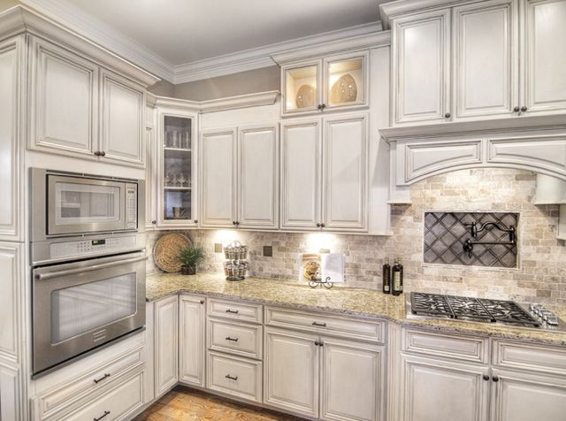 ... Mocha Deluxe Kitchen Cabinets. White_Shaker,  FrenchVanillaChocolateMist2, Vanilla Distressed