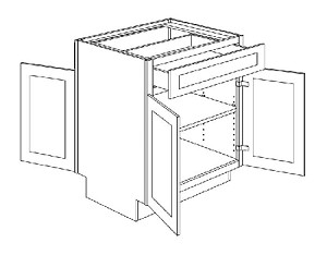 PB48 Double Door Peninsula Base Cabinet 48